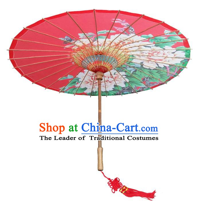 China Traditional Dance Handmade Umbrella Classical Printing Peony Wedding Red Oil-paper Umbrella Stage Performance Props Umbrellas