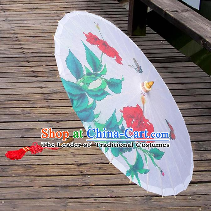 Handmade China Traditional Dance Umbrella Classical Printing Flower White Oil-paper Umbrella Stage Performance Props Umbrellas
