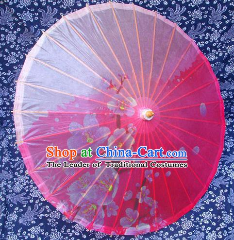 Handmade China Traditional Dance Umbrella Classical Printing Flowers Pink Oil-paper Umbrella Stage Performance Props Umbrellas