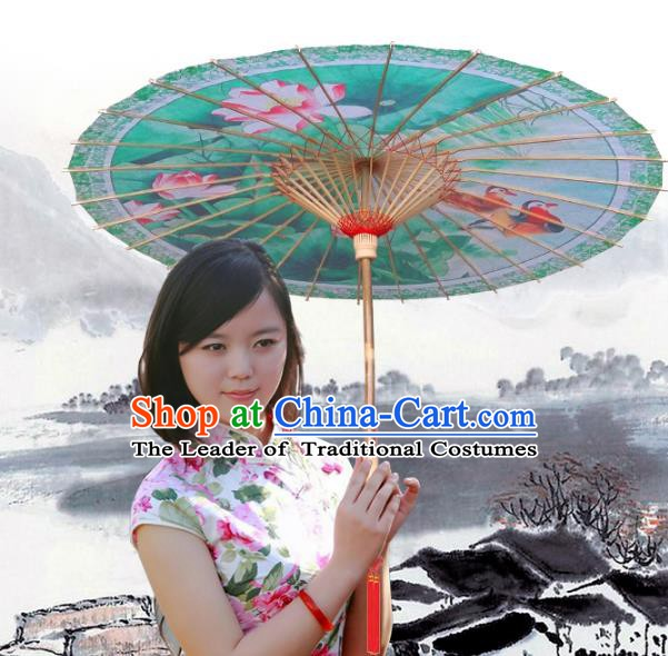 Handmade China Traditional Dance Umbrella Classical Printing Lotus Mandarin Duck Oil-paper Umbrella Stage Performance Props Umbrellas