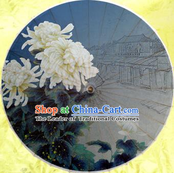 Handmade China Traditional Dance Umbrella Classical Painting White Chrysanthemum Oil-paper Umbrella Stage Performance Props Umbrellas