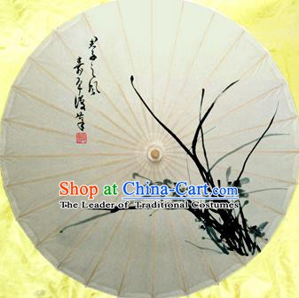Handmade China Traditional Dance Umbrella Classical Ink Painting Orchid Oil-paper Umbrella Stage Performance Props Umbrellas