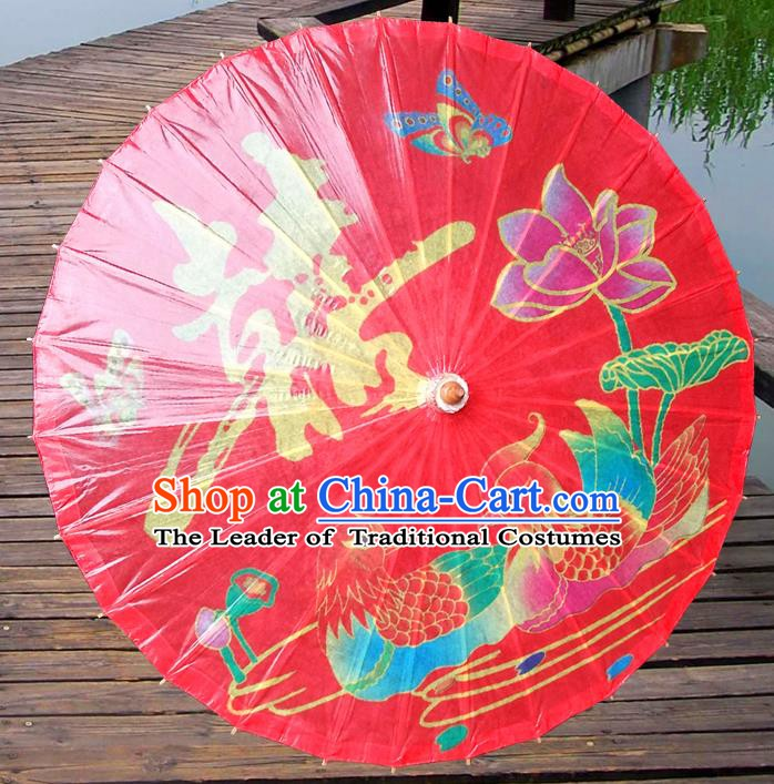 China Traditional Dance Handmade Umbrella Printing Mandarin Duck Red Wedding Oil-paper Umbrella Stage Performance Props Umbrellas