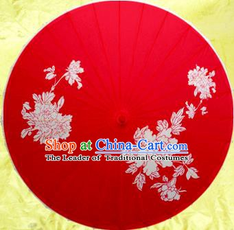 Handmade China Traditional Dance Wedding Umbrella Printing Peony Wedding Red Oil-paper Umbrella Stage Performance Props Umbrellas