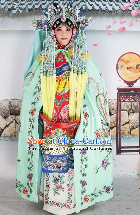 Chinese Beijing Opera Diva Costume Green Embroidered Cloak, China Peking Opera Actress Embroidery Mantle Clothing