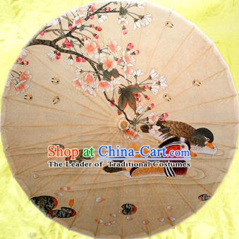 Handmade China Traditional Dance Wedding Umbrella Classical Painting Mandarin Duck Oil-paper Umbrella Stage Performance Props Umbrellas