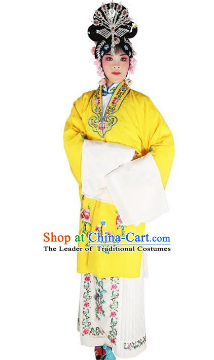 Chinese Beijing Opera Diva Princess Embroidered Yellow Costume, China Peking Opera Actress Embroidery Clothing