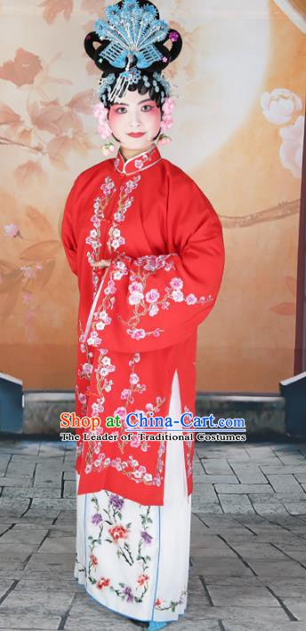 Chinese Beijing Opera Diva Princess Embroidered Red Costume, China Peking Opera Actress Embroidery Clothing