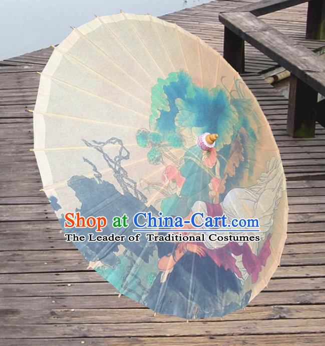 Handmade China Traditional Folk Dance Umbrella Painting Lotus Leaf Oil-paper Umbrella Stage Performance Props Umbrellas