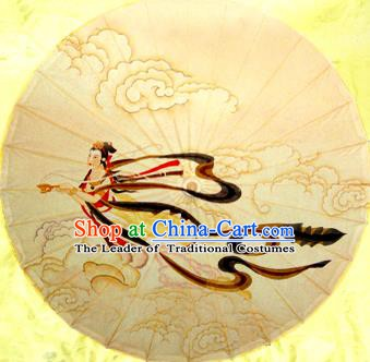 Handmade China Traditional Folk Dance Umbrella Painting Flying Apsara Oil-paper Umbrella Stage Performance Props Umbrellas