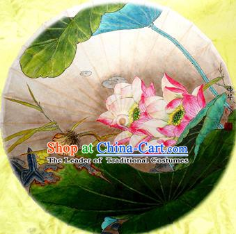Handmade China Traditional Folk Dance Umbrella Painting Red Lotus Flowers Oil-paper Umbrella Stage Performance Props Umbrellas