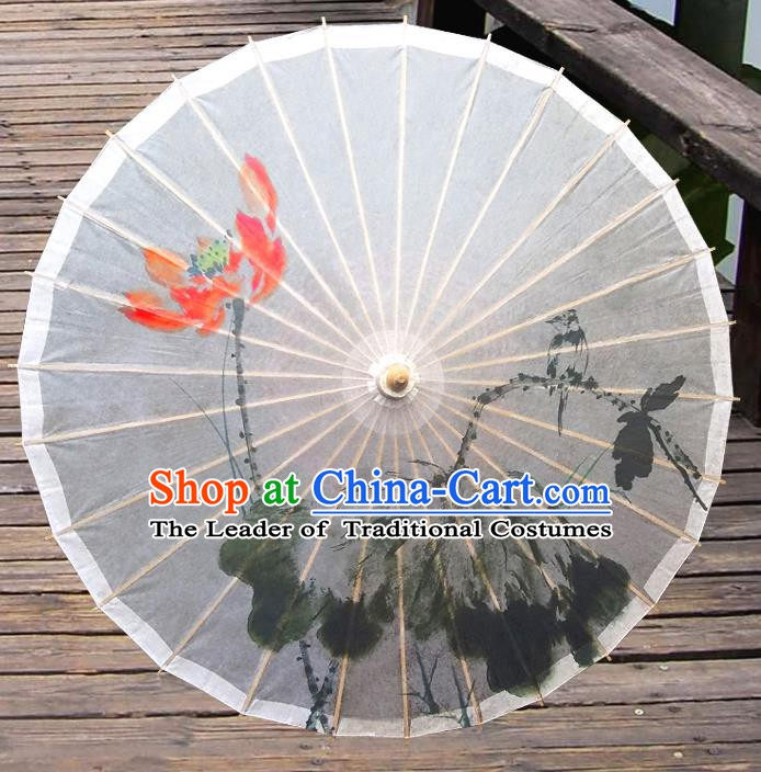 Handmade China Traditional Folk Dance Umbrella Ink Painting Red Lotus Oil-paper Umbrella Stage Performance Props Umbrellas