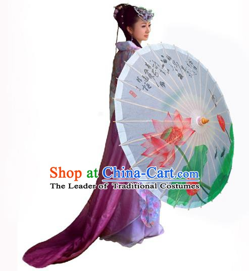 Handmade China Traditional Folk Dance Umbrella Ink Painting Lotus White Oil-paper Umbrella Stage Performance Props Umbrellas
