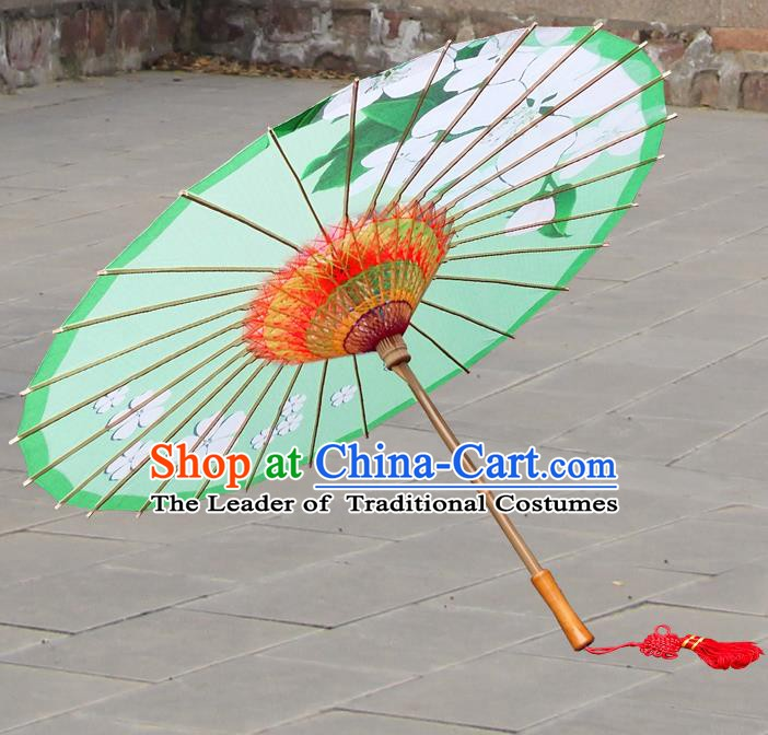 Handmade China Traditional Folk Dance Umbrella Painting Flowers Green Oil-paper Umbrella Stage Performance Props Umbrellas