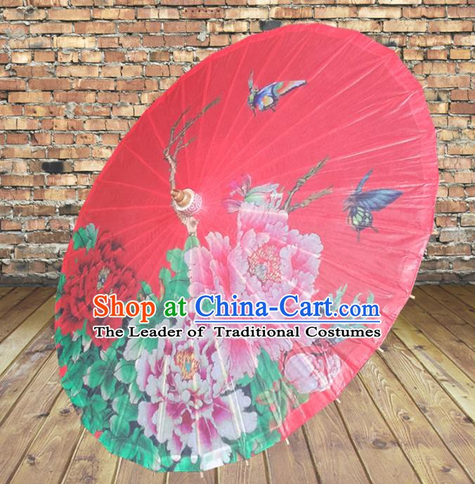 Handmade China Traditional Folk Dance Umbrella Painting Peony Bride Red Oil-paper Umbrella Stage Performance Props Umbrellas