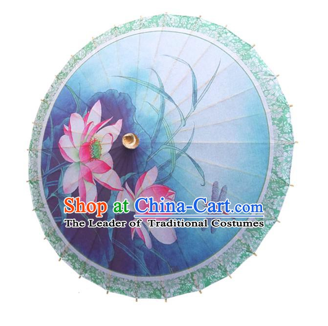 Handmade China Traditional Folk Dance Umbrella Painting Lotus Blue Oil-paper Umbrella Stage Performance Props Umbrellas
