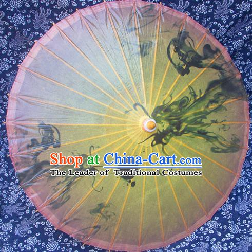 Handmade China Traditional Folk Dance Umbrella Ink Painting Dragons Oil-paper Umbrella Stage Performance Props Umbrellas