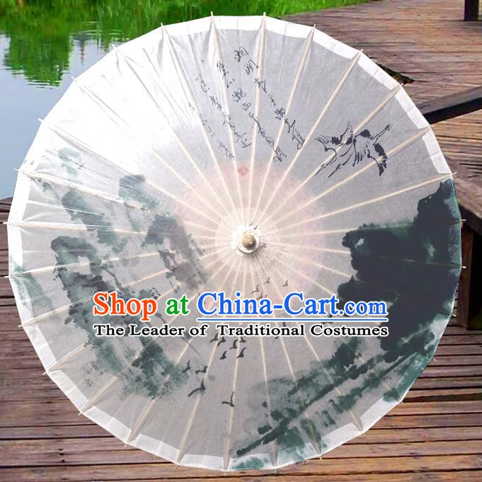 Handmade China Traditional Folk Dance Umbrella Ink Painting Wild Goose Oil-paper Umbrella Stage Performance Props Umbrellas