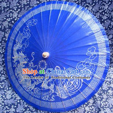 Handmade China Traditional Folk Dance Umbrella Painting Dragon Phoenix Blue Oil-paper Umbrella Stage Performance Props Umbrellas