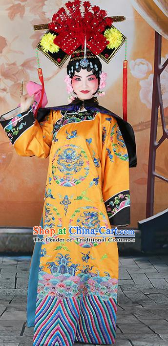 Chinese Beijing Opera Actress Manchu Lady Embroidered Costume, China Peking Opera Diva Embroidery Clothing