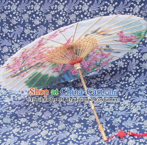 Handmade China Traditional Folk Dance Umbrella Stage Performance Props Umbrellas Painting Peach Blossom Birds Oil-paper Umbrella