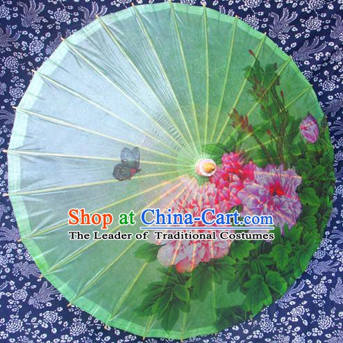 Handmade China Traditional Folk Dance Umbrella Painting Peony Flowers Green Oil-paper Umbrella Stage Performance Props Umbrellas
