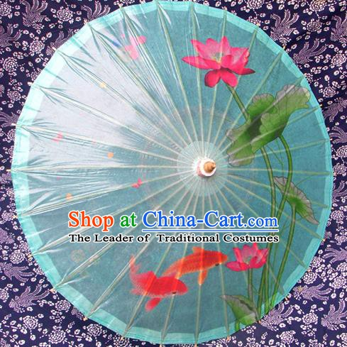 Handmade China Traditional Folk Dance Umbrella Painting Lotus Fishes Blue Oil-paper Umbrella Stage Performance Props Umbrellas