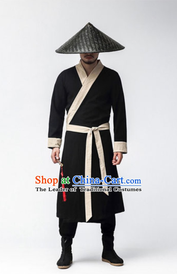 Chinese Ancient Wushu Martial Arts Uniform Clothing and Hat Complete Set for Men Women Kids