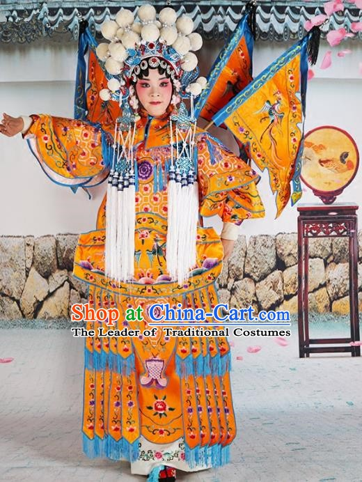 Chinese Beijing Opera Female General Embroidered Yellow Costume, China Peking Opera Blues Embroidery Clothing