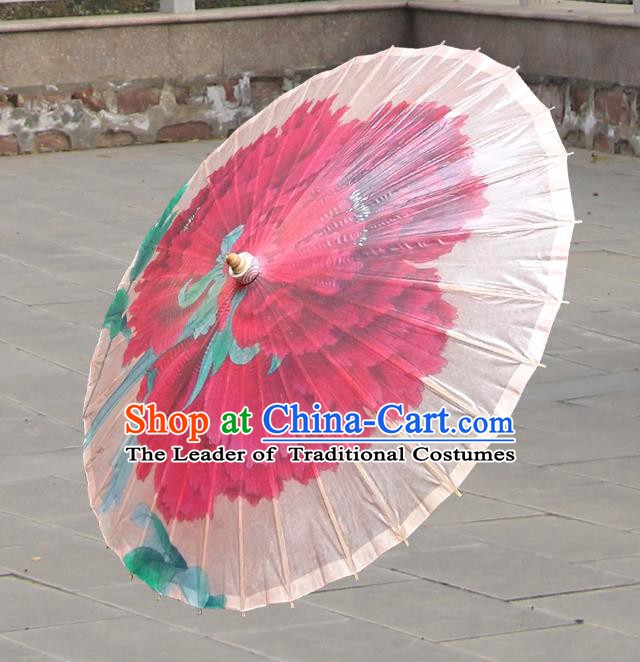 Handmade China Traditional Folk Dance Umbrella Painting Peony Pink Oil-paper Umbrella Stage Performance Props Umbrellas