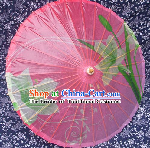 Handmade China Traditional Folk Dance Umbrella Painting Greenish Lily Flower Pink Oil-paper Umbrella Stage Performance Props Umbrellas