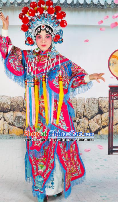 Chinese Beijing Opera Martial Lady Embroidered Rosy Costume, China Peking Opera Blues Embroidery Clothing