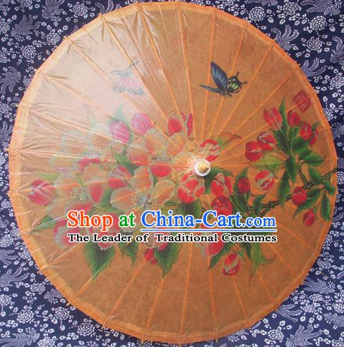 Handmade China Traditional Folk Dance Umbrella Printing Orange Oil-paper Umbrella Stage Performance Props Umbrellas