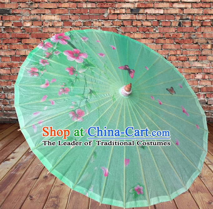 Handmade China Traditional Folk Dance Umbrella Printing Green Oil-paper Umbrella Stage Performance Props Umbrellas