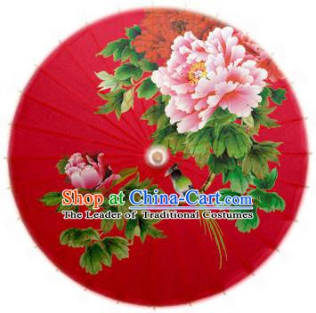 Handmade China Traditional Folk Dance Umbrella Printing Peony Red Oil-paper Umbrella Stage Performance Props Umbrellas
