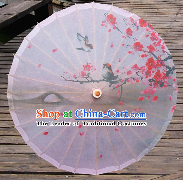Handmade China Traditional Folk Dance Umbrella Printing Plum Blossom Oil-paper Umbrella Stage Performance Props Umbrellas