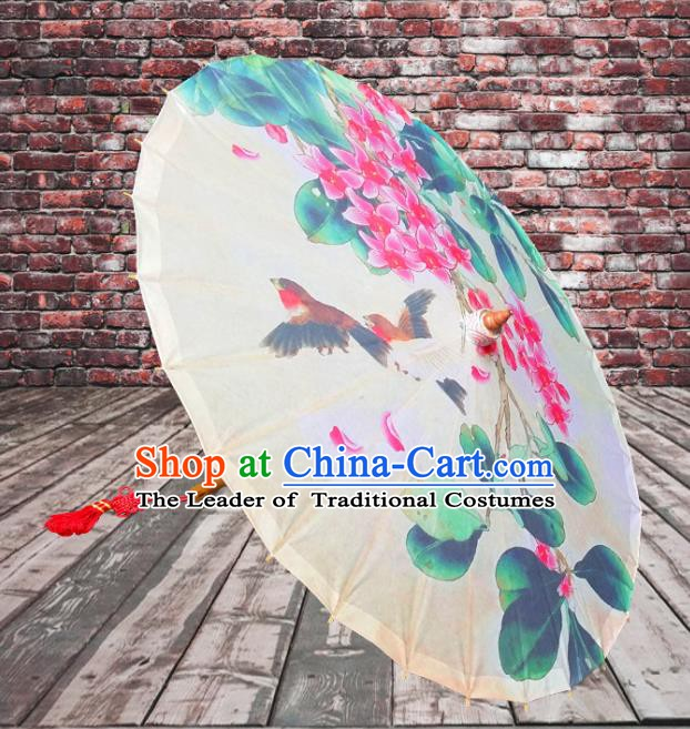 China Traditional Folk Dance Umbrella Hand Painting Flowers Oil-paper Umbrella Stage Performance Props Umbrellas