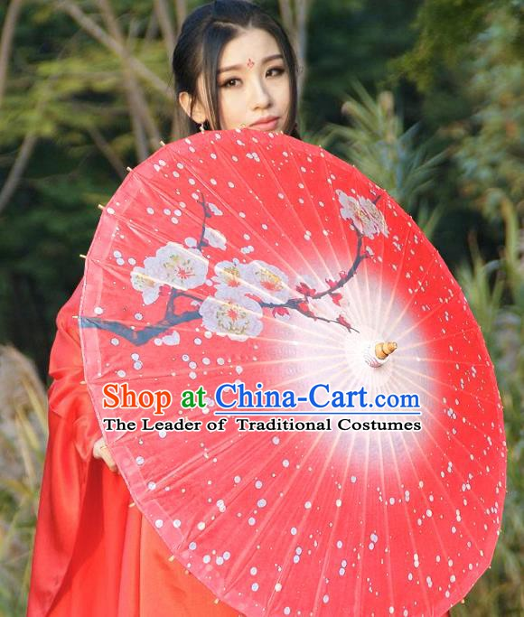 China Traditional Folk Dance Umbrella Hand Painting Plum Blossom Red Oil-paper Umbrella Stage Performance Props Umbrellas