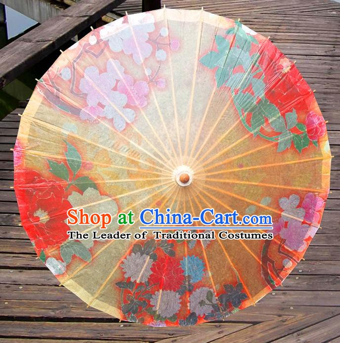 China Traditional Folk Dance Paper Umbrella Hand Painting Yellow Oil-paper Umbrella Stage Performance Props Umbrellas