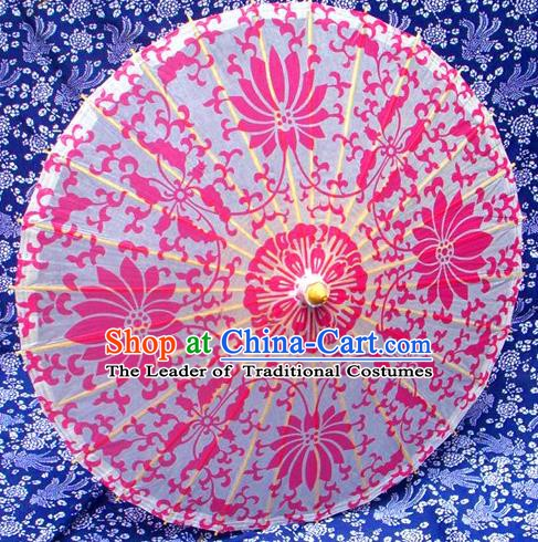 Handmade China Traditional Folk Dance Umbrella Printing Lotus Rosy Oil-paper Umbrella Stage Performance Props Umbrellas