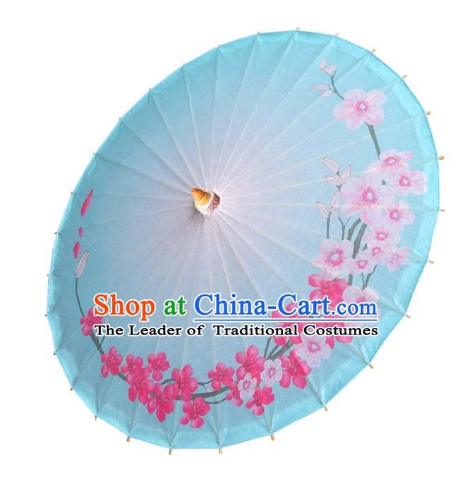 China Traditional Folk Dance Paper Umbrella Hand Painting Blue Oil-paper Umbrella Stage Performance Props Umbrellas