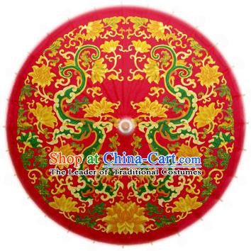 China Traditional Folk Dance Paper Umbrella Hand Painting Dragon Red Oil-paper Umbrella Stage Performance Props Umbrellas