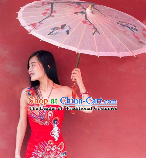 China Traditional Folk Dance Paper Umbrella Hand Painting Birds Pink Oil-paper Umbrella Stage Performance Props Umbrellas