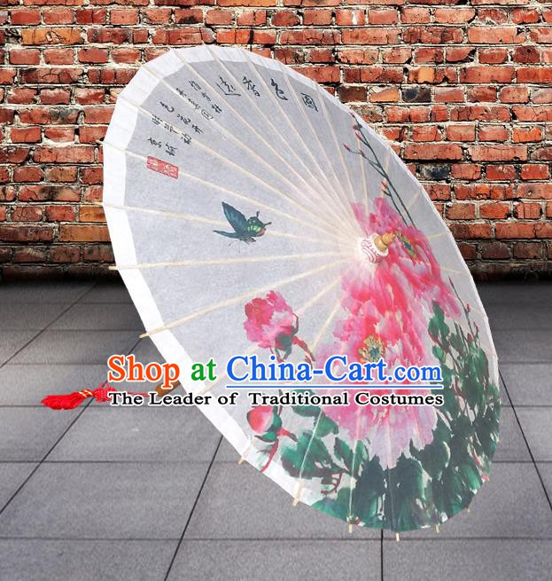 China Traditional Folk Dance Paper Umbrella Hand Painting Peony Flowers White Oil-paper Umbrella Stage Performance Props Umbrellas