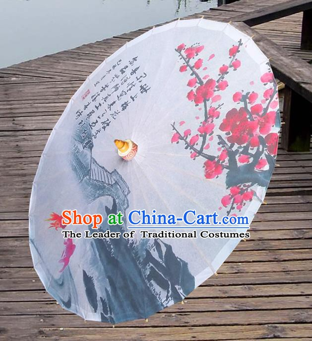 China Traditional Folk Dance Paper Umbrella Hand Painting Plum Blossom Goldfish Oil-paper Umbrella Stage Performance Props Umbrellas
