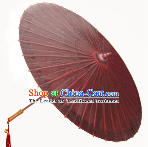 China Traditional Folk Dance Paper Umbrella Hand Painting Wine Red Oil-paper Umbrella Stage Performance Props Umbrellas