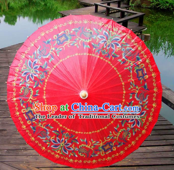 China Traditional Folk Dance Paper Umbrella Hand Painting Red Oil-paper Umbrella Stage Performance Props Umbrellas