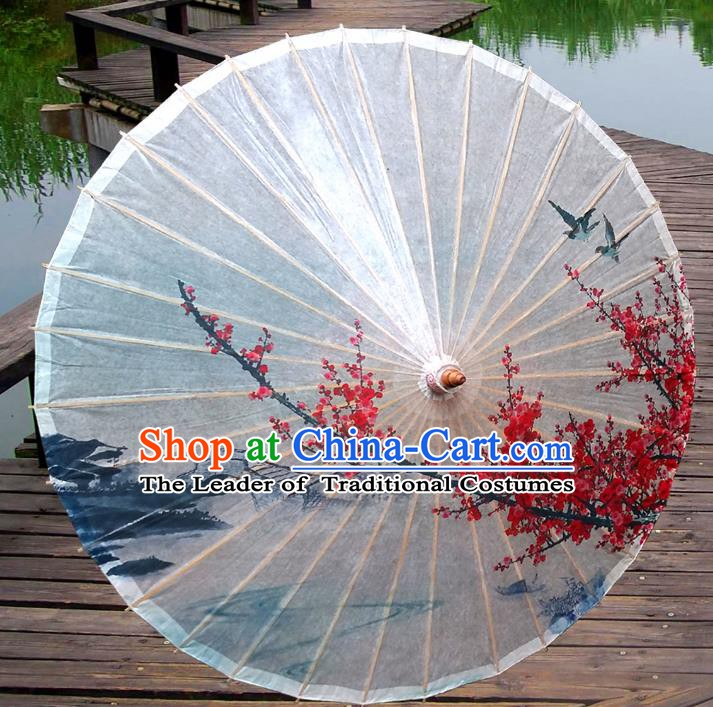 China Traditional Folk Dance Paper Umbrella Hand Painting Wintersweet White Oil-paper Umbrella Stage Performance Props Umbrellas