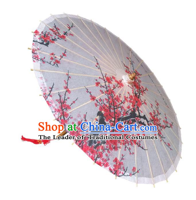 Handmade China Traditional Folk Dance Umbrella Printing Red Plum Blossom Oil-paper Umbrella Stage Performance Props Umbrellas