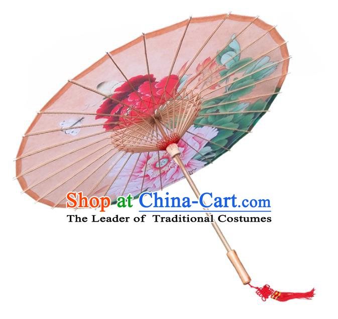 China Traditional Folk Dance Paper Umbrella Hand Painting Peony Orange Oil-paper Umbrella Stage Performance Props Umbrellas